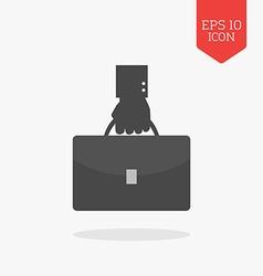 Hand holding briefcase icon flat design gray color vector