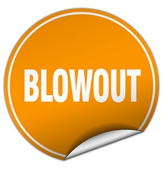 Blowout round orange sticker isolated on white vector