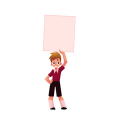 Boy child kid holding blank empty poster board vector