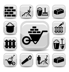 Bricklayer icons vector