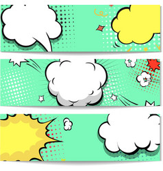 Bright dotted comic book style header set vector