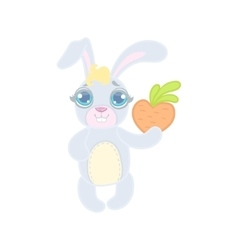 Bunny with a heart shaped carrot vector