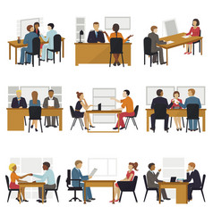 business people sitting room long time amusing vector image vector image