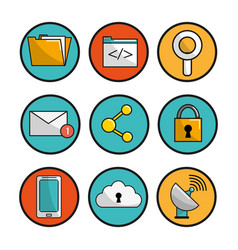 Button icons connection services data vector