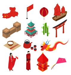 china touristic symbols isometric view vector image vector image