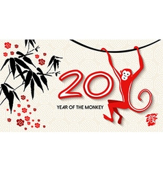Chinese new year 2016 card banner art ape vector