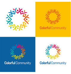 colorful community icon and logo vector image vector image