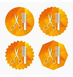 Comb hair with scissors sign icon Barber symbol vector image