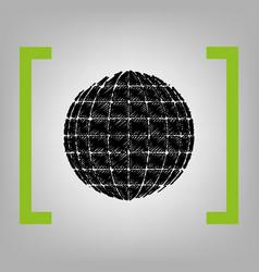 earth globe sign black scribble icon in vector image