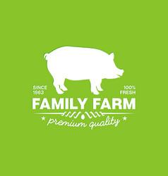 emblem of a family farm with premium fresh pork vector image vector image