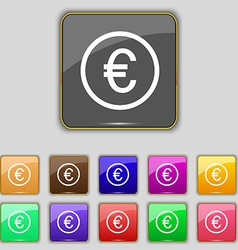 Euro icon sign Set with eleven colored buttons for vector image vector image