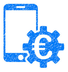 Euro mobile bank configuration grunge icon vector