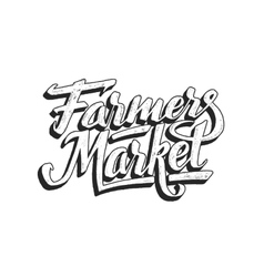 Farmers market hand lettering isolated on white vector