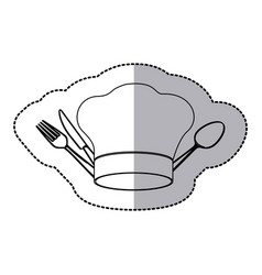 Figure hat with cutlery icon vector