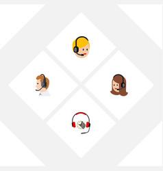 Flat call set of call center telemarketing vector