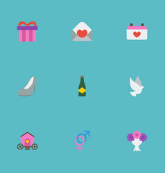 flat icons pigeon posy sandal elements vector image