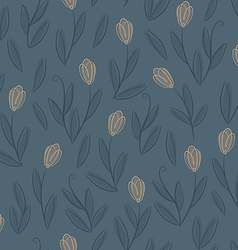 Floral blue seamless pattern with yellow tulips vector