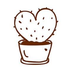 Hand drawn love heart cactus vector