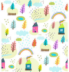 Houses and landscape rural seamless pattern vector