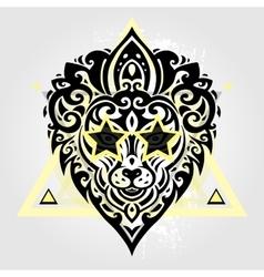 Lions head tribal pattern vector