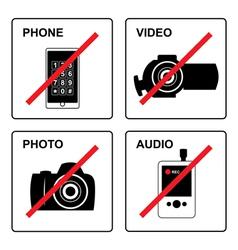 No recording signs vector