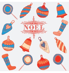 Noel card christmas decorations vector