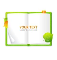 open personal organizer book green vector image vector image