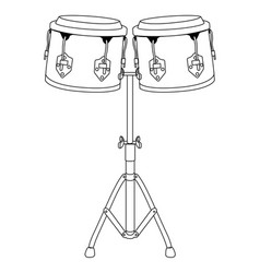 pair of drums outline vector image vector image