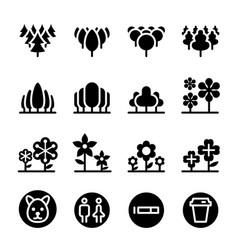 park landscape icon set vector image