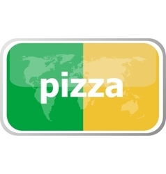 pizza Flat web button icon World map earth icon vector image vector image