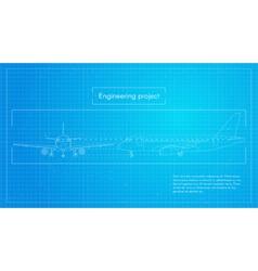plane Engineering aircraft blueprint background vector image