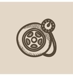 Pressure gauge tyre sketch icon vector