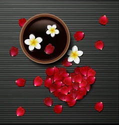 Red rose petals valentines card background vector