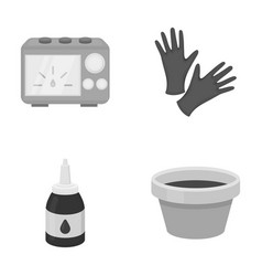 Rubber gloves ink and other equipment tattoo set vector