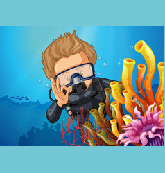 Scuba diver diving behind coral reef vector