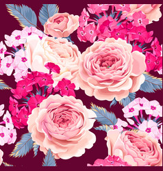 seamless pattern with phloxes and roses vector image vector image