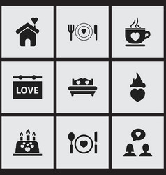 Set of 9 editable heart icons includes symbols vector