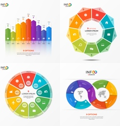 set of infographic templates with 9 options vector image
