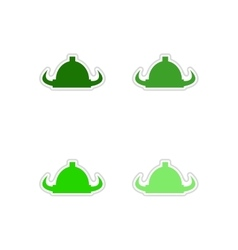 Set of paper stickers on white background viking vector