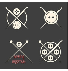 Set of sewing logotypes on dark grey background vector image vector image