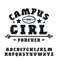 Slab serif font hand drawn vector
