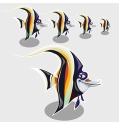 Striped tropical fish with sly eye and smile vector