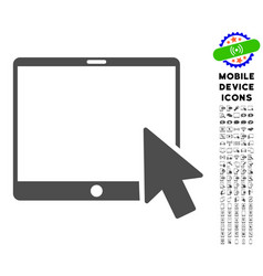 tablet arrow pointer icon with set vector image