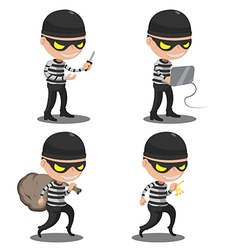 Thief mask steal cartoon character vector