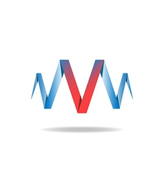 V - red letter of the blue ribbon logo idea vector image vector image