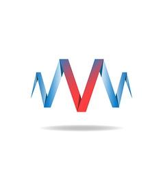 V - red letter of the blue ribbon logo idea vector image