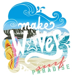 Wave surf paradise vector