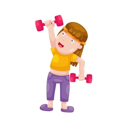 Woman with dumbbells isolated on white background vector