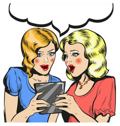 women surprised holding tablet comic style vector image vector image