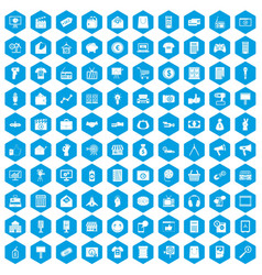 100 marketing icons set blue vector